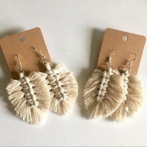 Macrame Feather Leaf Earrings Handmade